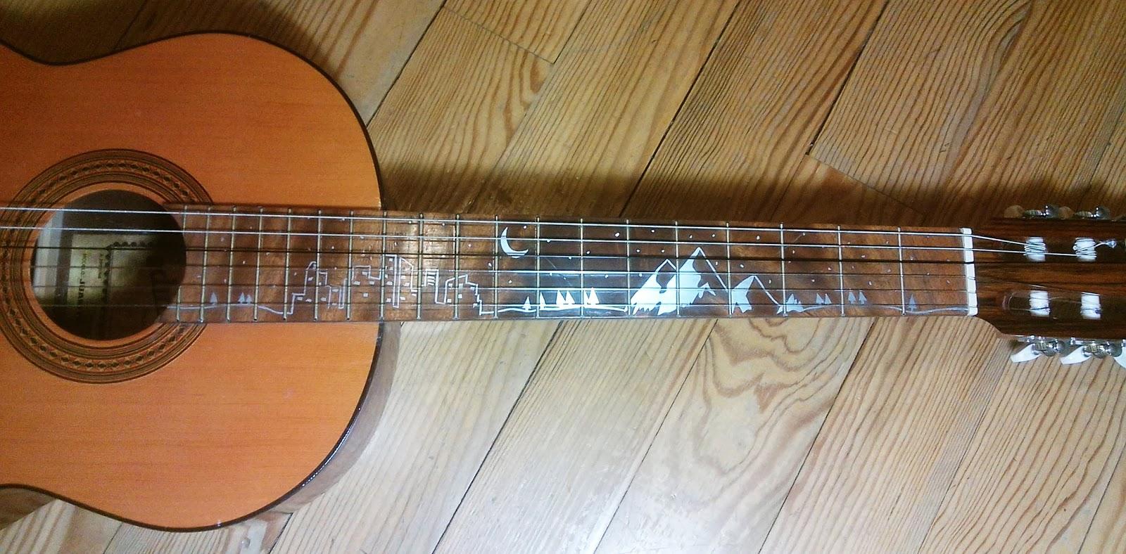 Incrustation aluminium guitare