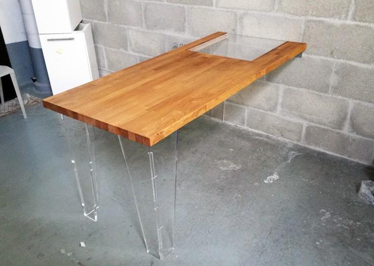 table bureau bois et pmma diy