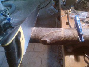 coupe d'une buche de bois